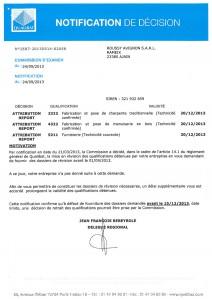 Notification de décision Qualibat